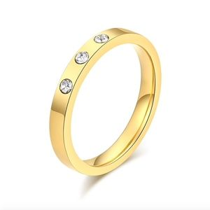 Jewelry - SOON Diamond CZ Stainless Steel Gold Wedding Ring